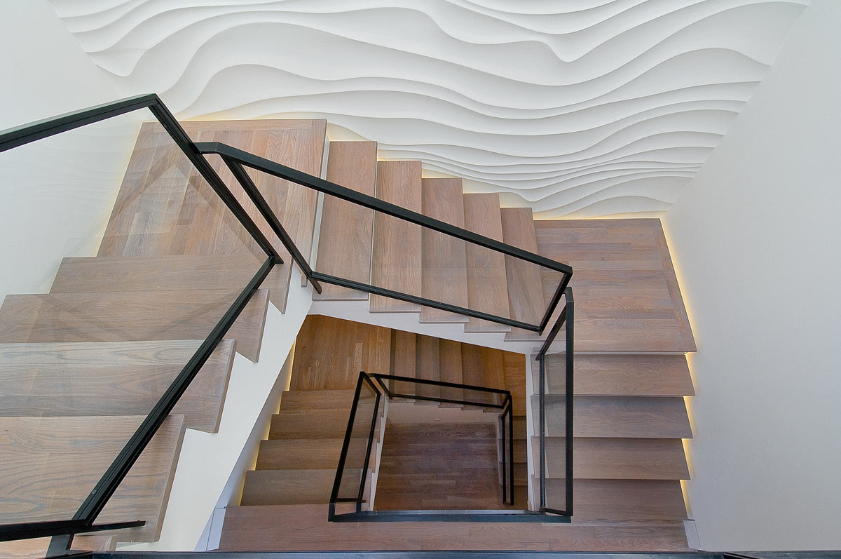 Interior design stair feature textured wall san francisco architects hood thomas architects
