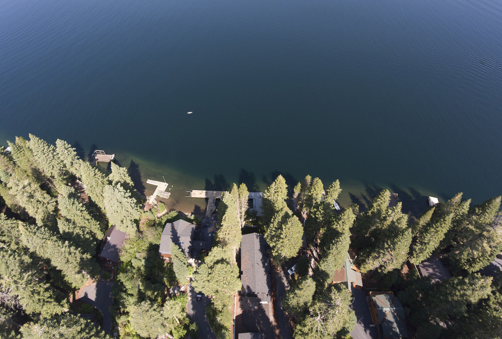 Donner Lake aerial view custom lake house new construction Tahoe family retreat hood thomas architects