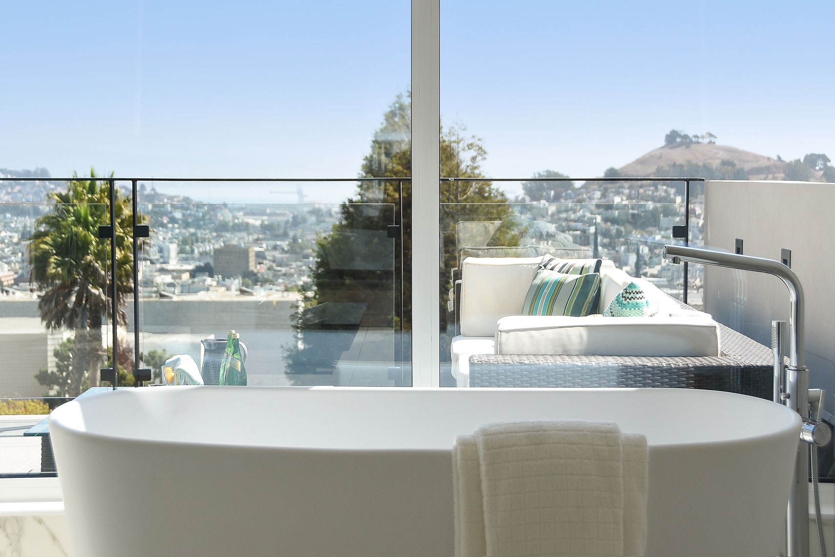 Bathroom with a view Noe Valley San Francisco  soaking tub passive house hood thomas architects